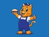 Cute Cartoon Cat Mascot Holding Sandwich 01