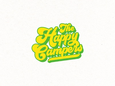 The Happy Campers mark typography illustrator illustration curvy letters weed logo identity branding sticker weed jeffrey dirkse cannabis logo cannabis logos logo camping lettering groovy
