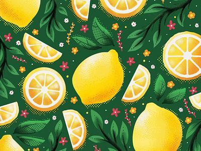 Lemon Illustration pattern lemons fruit fruit illustration lemon drawing lemon illustration graphic design digital drawing color palette procreate illustration procreate design illustration