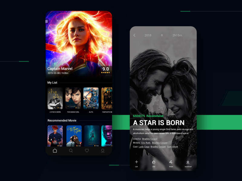 Bean Movie App Design 平面 app design ui