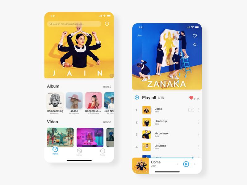 Music App color music app music yellow typography clean card branding app ux design 平面 ui