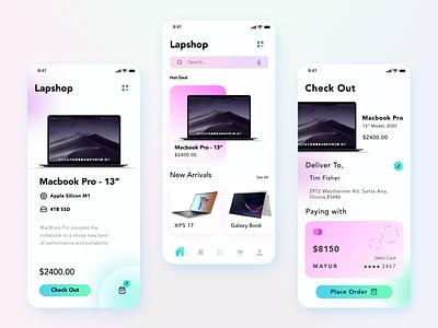 Lapshop - A modern and dedicated laptop online store app design branding ui design user experience design adobe illustrator adobe photoshop adobe xd figma ux ui
