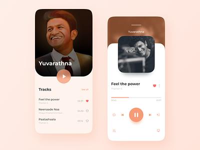 Music Player motion design product design design ui app design ui design user experience adobe illustrator adobe photoshop adobe xd framer figma