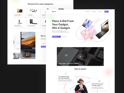 Bidding Website Landing Page Design app design product design adobe photoshop adobe illustrator adobe xd figma ui design user experience ux ui