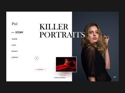 Modern portrait photography website design. art direction visual design adobe illustrator adobe photoshop adobe xd figma ui design user experience ux ui