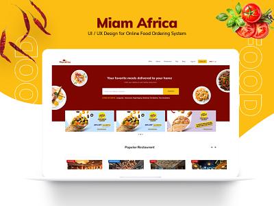 Miam Africa - Online Food Ordering Website Design theme website food web design uiuxdesign ui deisgn webiste design food ordering branding design