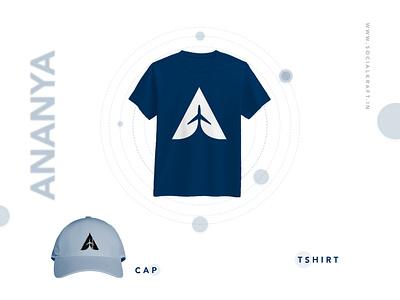 Tshirt-Cap Design- Ananya Travel World blue travel agency branding logo design