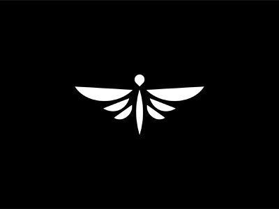 Dragonfly logo insect wing fly animal art minimalist simple white black negative space logo black  white illustration simple design graphic design animal logo animal animal icon branding icon logo