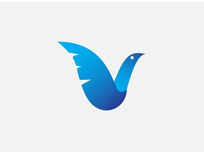 V Blue Bird Logo vector animal logo animal icon animal fly plane ticket plane developer web simple logos simple icon blue bird blue papper simple design minimalist graphic design logo icon branding