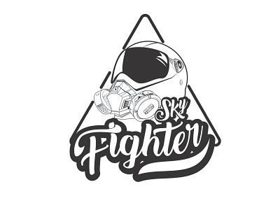 Sky Fighter Logo helmet charachter design character mask fighter fighter jet air jet plane sky plane branding logo icon illustration vector simple design simple design graphic design