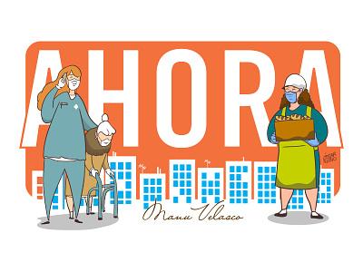 AHORA/NOW vector ux ui flat illustrator website minimal illustration