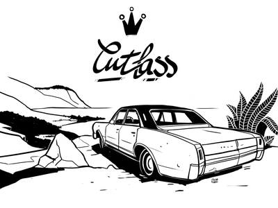 Illustration for the Cutlass Car Club ux web minimal lettering design animation flat website illustration