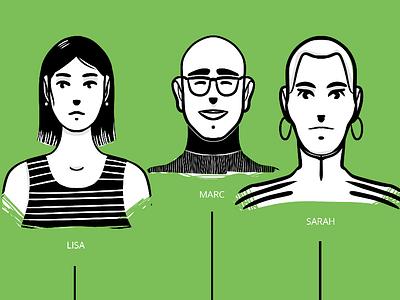 Staff 1 staff people website design minimal illustration