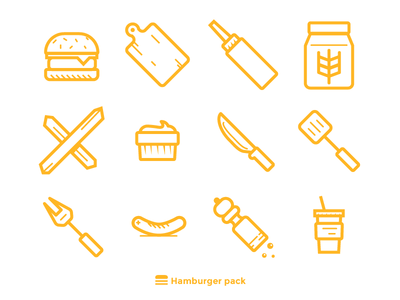 Hamburger Icons 02 burger drink pepper mill sausage bbq fork turner knife hamburger cutting board ketchup flour dipping sauce