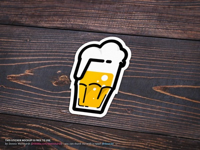 Beer Sticker Mockup mockup sticker icon beer