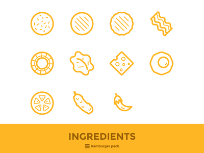 Hamburger Icons 04 outline icon ingredients hamburger burger illustrations icons