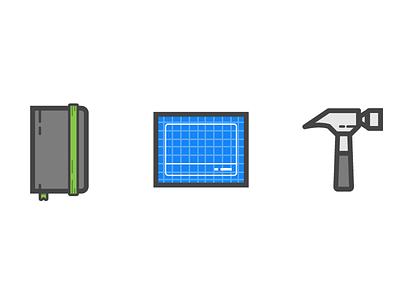 iOS developer tools illo illos tools xcode hammer blueprint notebook developer ios icon illustration vector
