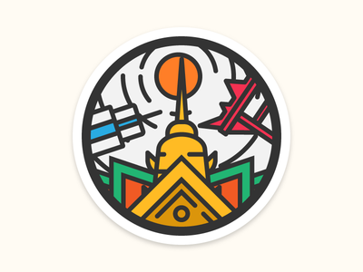 I'm from Bangkok the giant swing city building sun temple playoff sticker icon illustration