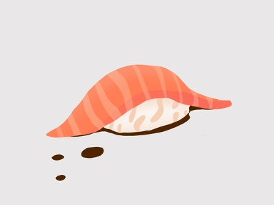 Daily illustration challenge 001 - Salmon Nigiri Sushi illustration nigirizushi nigiri sushi salmon