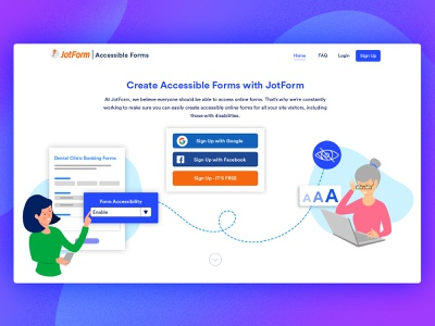 Accessible Forms Landing Page form accessible vector 2d character illustration web landing page design ux ui
