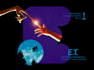 E for movie 'E.T. The Extra-terrestrial'. daily challange photoshop extraterrestrial letter e graphic design type art graphic art 36daysoftype-e typography type type daily digital design academy awards type challenge movie illustration hollywood 36daysoftype drawing