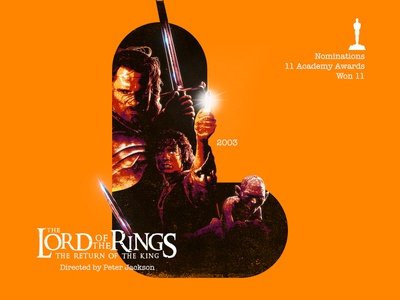 L for movie 'The Lords of the Rings: The Return of the King'. type art photoshop digital 2003 lotr the lord of the rings peter jackson typography type daily type academy awards type challenge movie illustration hollywood graphic design graphic art 36daysoftype drawing