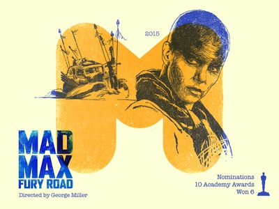 M for movie 'Mad Max : Fury Road'. charlize theron portrait portrait art winner 36daysoftype-m digital academy awards photoshop george miller tom hardy fury road mad max movie type challenge illustration hollywood graphic design graphic art 36daysoftype drawing