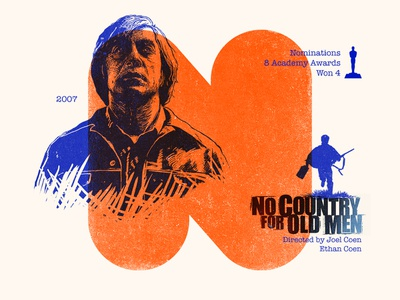 N for movie 'No Country for Old Men'. portrait winner woodcut portrait design 36daysoftype-n type portrait challenge portrait art photoshop type daily digital academy awards type challenge movie illustration hollywood graphic design graphic art 36daysoftype drawing