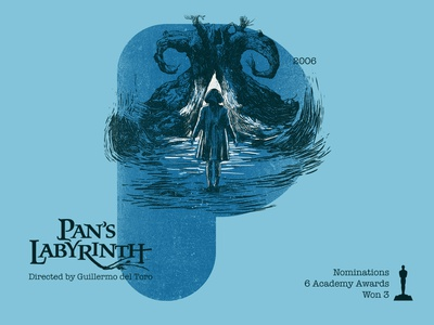 P for movie 'Pan's Labyrinth'. fantasy labyrinth guillermo del toro pans labyrinth woodcut india type photoshop type daily digital academy awards type challenge movie illustration hollywood graphic design graphic art 36daysoftype drawing
