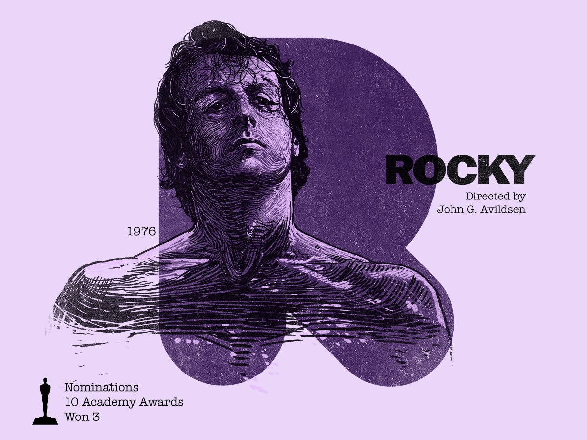 R for movie 'Rocky'. boxer drama sport rocky sylvester stallone portrait portrait art type photoshop type daily digital academy awards type challenge movie illustration hollywood graphic design graphic art 36daysoftype drawing