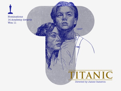 T for movie 'Titanic'. kate winslet leonardo dicaprio james cameron typography woodcut portrait photoshop type daily type challenge digital academy awards movie illustration hollywood graphic design graphic art 36daysoftype drawing