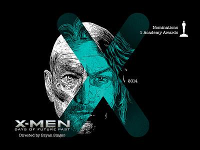 X for movie 'X-Men: Days of Future Past'. typography design portrait art marvel xmen winner woodcut portrait photoshop type daily type challenge digital academy awards movie illustration hollywood graphic design graphic art 36daysoftype drawing