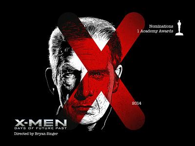 X for movie 'X-Men: Days of Future Past'. winner photoshop marvel comics xmen portrait art woodcut portrait type art type daily type challenge digital academy awards movie illustration hollywood graphic design graphic art 36daysoftype drawing