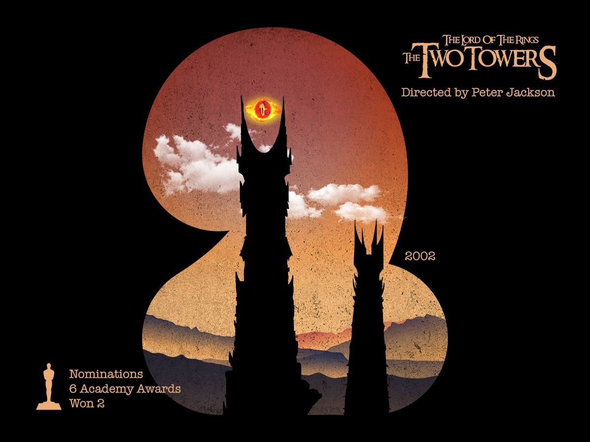 2 for movie 'The Lord of the Rings: The Two Towers'. lord of the rings design peter jackson the two towers lotr the lord of the rings typography type photoshop type daily type challenge digital academy awards movie illustration hollywood graphic design graphic art 36daysoftype drawing
