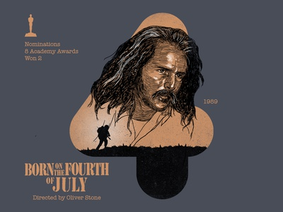 4 for movie 'Born on the Fourth of July'. winner design typography portrait born on the fourth of july woodcut tom cruise type photoshop type daily type challenge digital academy awards movie illustration hollywood graphic design graphic art 36daysoftype drawing