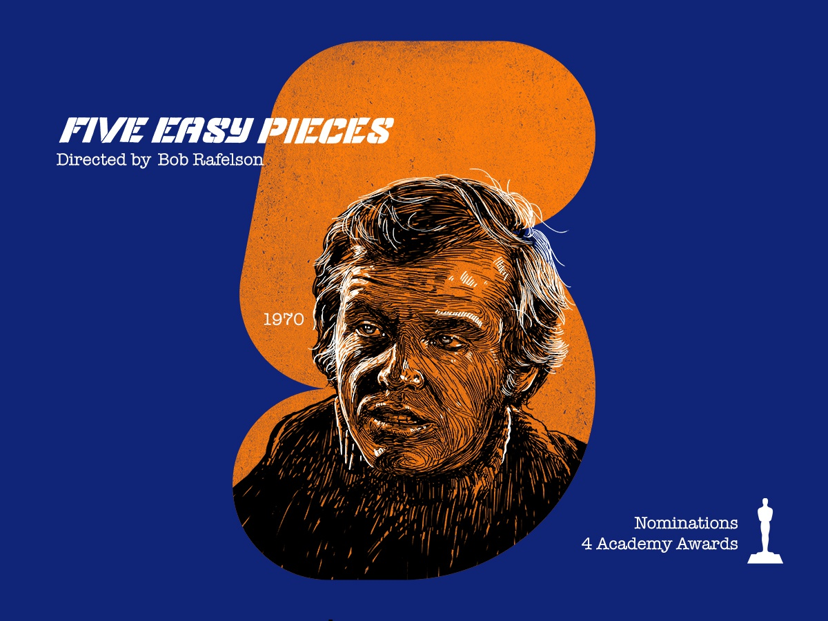 5 for movie 'Five Easy Pieces'. contest photoshop design winner jack nicholson typography portrait woodcut portrait art type daily type challenge digital academy awards movie hollywood graphic design graphic art 36daysoftype drawing illustration