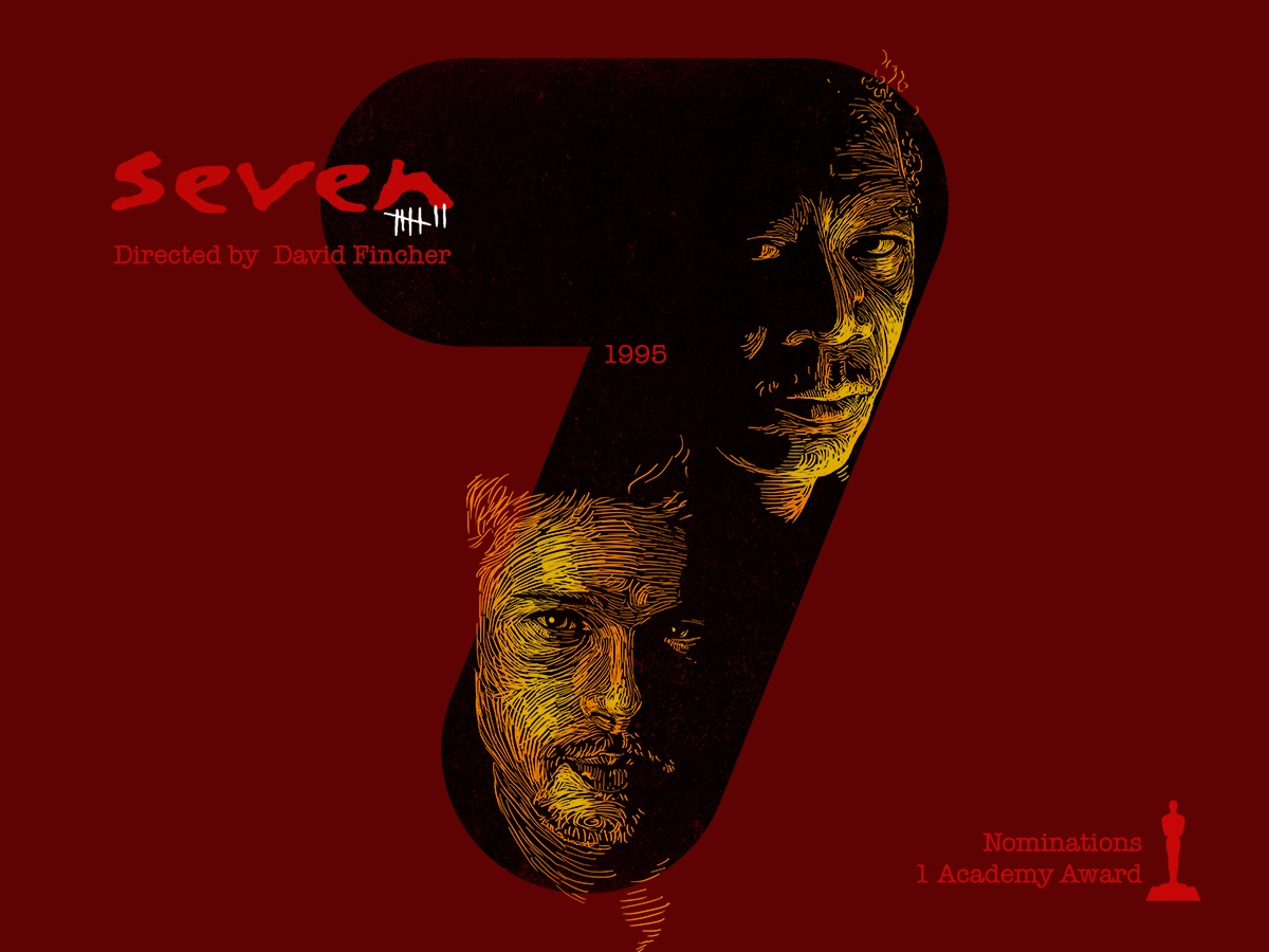 7 for movie 'Seven'. seven morgan freeman brad pitt portrait art woodcut portrait typography type photoshop type daily type challenge digital academy awards movie illustration hollywood graphic design graphic art 36daysoftype drawing