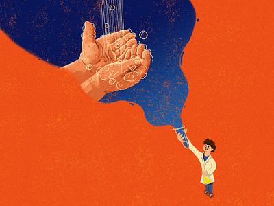 Scientist kid children-illustration water washing children book dream teach soap bubble hygiene healthy children handhygiene blue orange illustration kid hand handwash scientist science