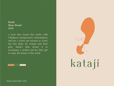 KATAJI SHOE branding logo design shoe design women logo line art logo footsteps shoebox fashion love daughter mother shoes