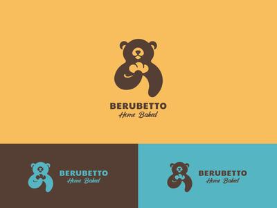 BERUBETTO HOME BAKED velvet brand identity logodesign negative space logo baked bakery bear logo bread bakerylogo branding