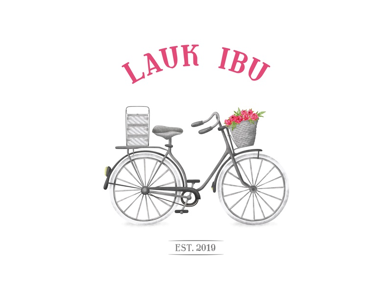 LAUK IBU food cooked homecooked classic catering sketch bycicle bike vintage logo dish