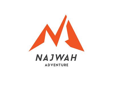 NAJWAH ADVENTURE mount natureboy nature initial logo outdoor logo n logo orange mountain logo mountain adventure