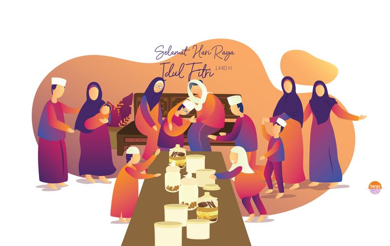 Eid Mubarak 1440H gradation illustration family iedmubarak ied lebaran idulfitri mubarak