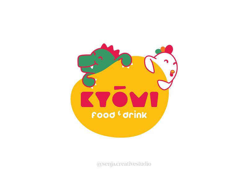 KYOMI branding logo cute food and drink bubble tea beverages chicken logo dino logo cartoon