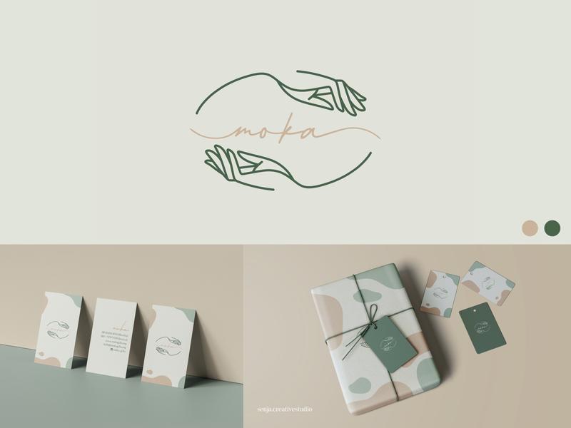 MOKA gift box logo design branding lineart hand logo giving gift logotype