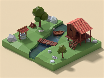 La Maison du Ruisseau river illustration red yellow green house square videogame game design isometric ui design orthographic lowpoly3d lowpoly blender affinityphoto 3d 3dillustration illustration art