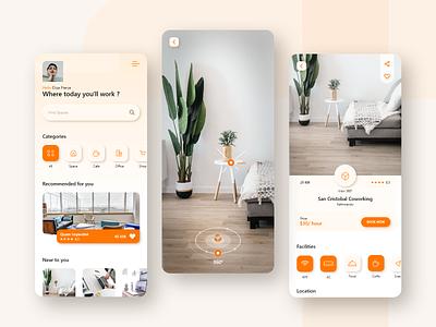 Find Coworking Space IOS App concept designer android ios minimalistic playstore design app coworking uiux clean ui minimal