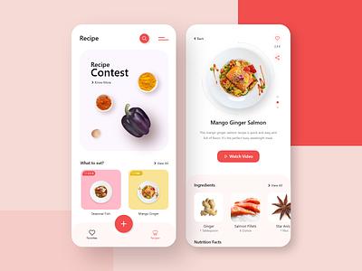 Recipe App Concept interface android ios ingredients eat food recipe recipe app cooking designer dribbble mobile app ux uiux ui playstore concept clean ui app design
