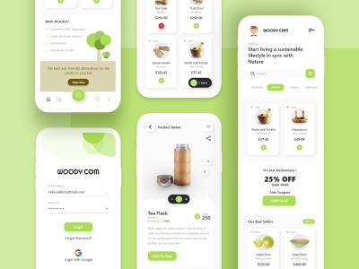 woody.com e-commerce app concept ios go-green nature green woody wood product design products online-store e-commerce app dribbble mobile app ux uiux ui playstore concept clean ui app design