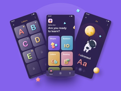 Child education App Design android ios mobile ux ui toon cart children education play kid learning concept 3d clay app